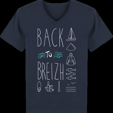 T-Shirt Bretagne - Back to Breizh - Homme - Col V - French Navy - Face