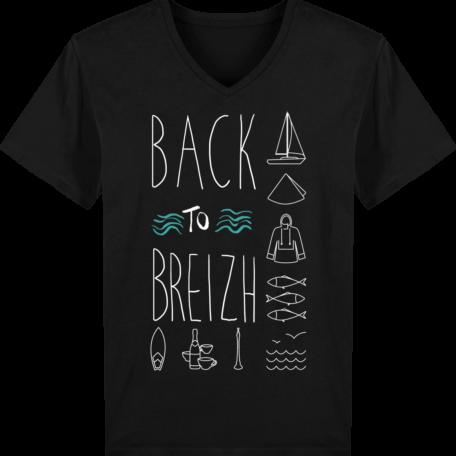 T-Shirt Bretagne - Back to Breizh - Homme - Col V - Black - Face