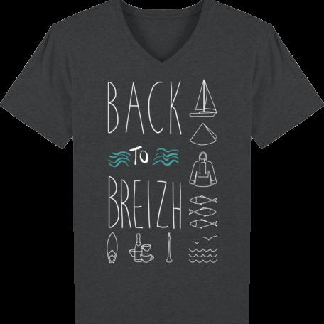 T-Shirt Bretagne - Back to Breizh - Homme - Col V - Dark Heather Grey - Face