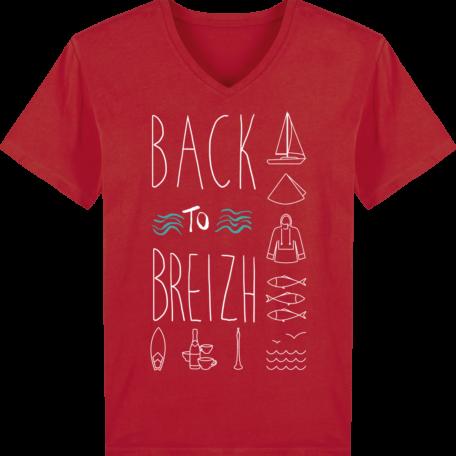 T-Shirt Bretagne - Back to Breizh - Homme - Col V - Red - Face