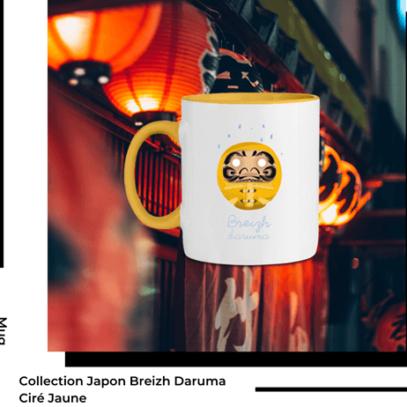 Mug Breizh Daruma Ciré Jaune Collection Japon de la marque Breizh Traveller