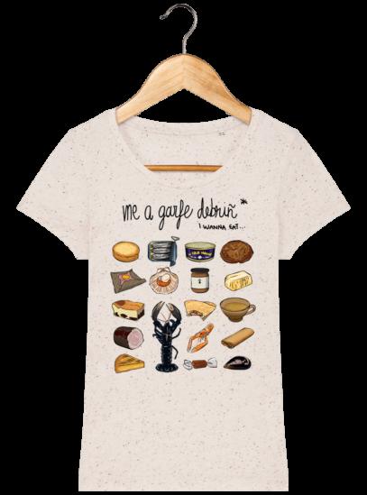 Tee Shirt Femme col rond Back to Breizh - De retour en Bretagne - Ecru Neppy Mandarine - Face