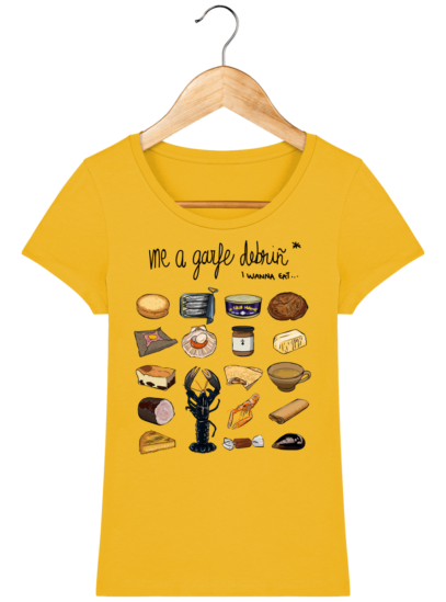 Tee Shirt Femme col rond Back to Breizh - De retour en Bretagne - Spectra Yellow - Face