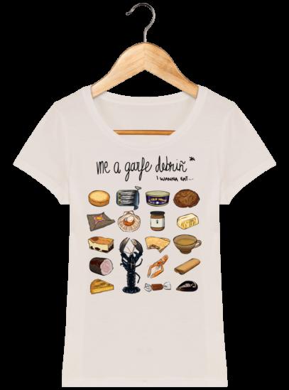 Tee Shirt Femme col rond Back to Breizh - De retour en Bretagne - Off White - Face