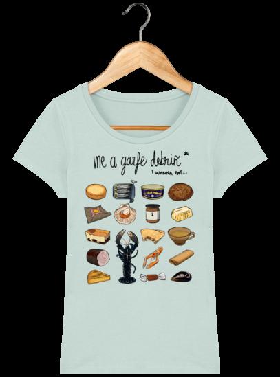 Tee Shirt Femme col rond Back to Breizh - De retour en Bretagne - Caribbean Blue - Face