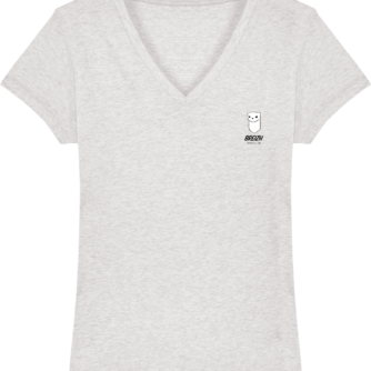 T Shirt Femme Hermine Bretonne - Breizh Traveller - Cream Heather Grey - Face