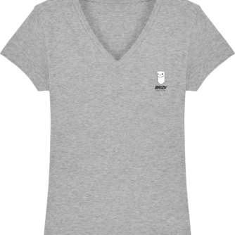 T Shirt Femme Hermine Bretonne - Breizh Traveller - Heather Grey - Face
