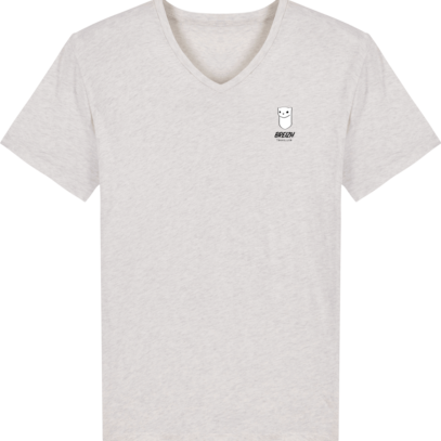 Tee Shirt Homme Col V Stanley PRESENTER - Cream Heather Grey - Face