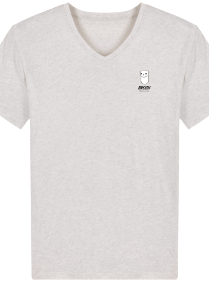 Tee Shirt Homme Col V Stanley PRESENTER - Cream Heather Grey - Face