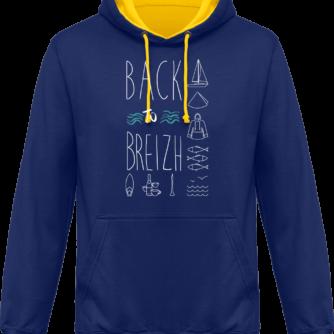 Sweat capuche / Hoodies unisexe Back to Breizh - De retour en Bretagne - Royal / Sun Yellow - Face