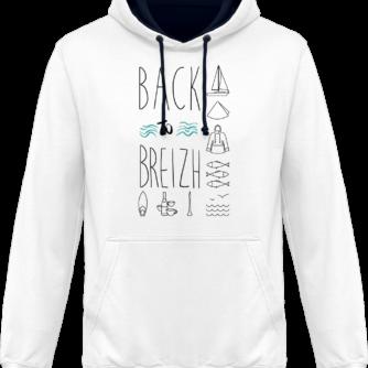 Sweat capuche / Hoodies unisexe Back to Breizh - De retour en Bretagne - Arctic White / French Navy - Face