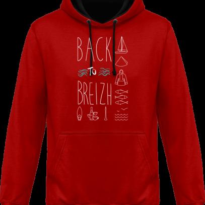 Sweat capuche / Hoodies unisexe Back to Breizh - De retour en Bretagne - Fire Red / Jet Black - Face