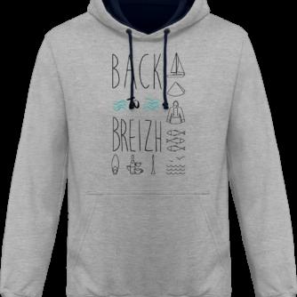 Sweat capuche / Hoodies unisexe Back to Breizh - De retour en Bretagne - Heather Grey / French Navy - Face