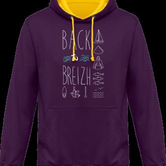 Sweat capuche / Hoodies unisexe Back to Breizh - De retour en Bretagne - Purple / Sun Yellow - Face