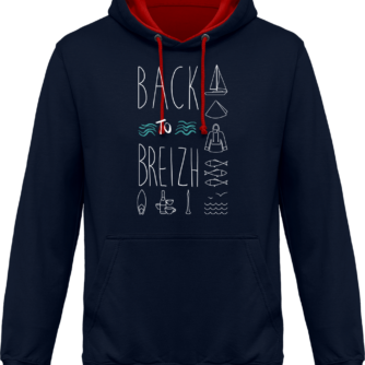 Sweat capuche / Hoodies unisexe Back to Breizh - De retour en Bretagne - Navy / Fire Red - Face