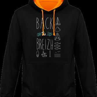 Sweat capuche / Hoodies unisexe Back to Breizh - De retour en Bretagne - Jet Black / Gold - Face