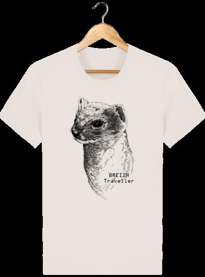 T Shirt Col rond Hermine Bretonne - Breizh Traveller - Off White - Face