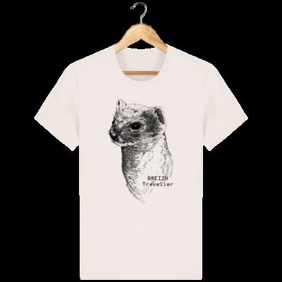 T Shirt Col rond Hermine Bretonne - Breizh Traveller - Vintage White - Face