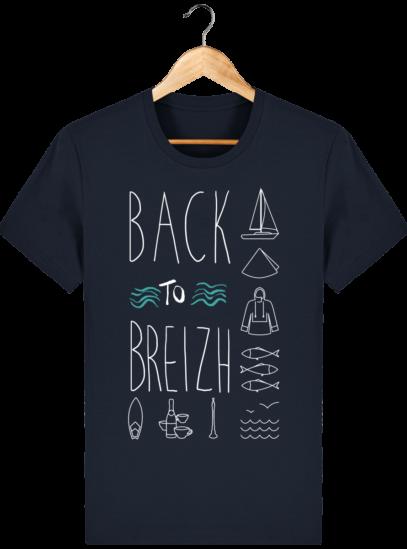 Tee Shirt col rond Back to Breizh - De retour en Bretagne - French Navy - Face