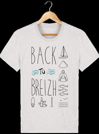 Tee Shirt col rond Back to Breizh - De retour en Bretagne - Cream Heather Grey - Face