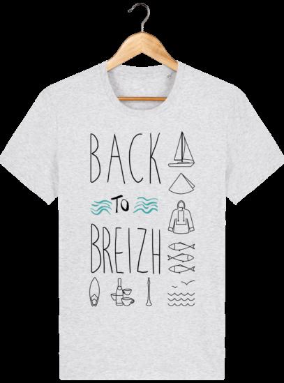 Tee Shirt col rond Back to Breizh - De retour en Bretagne - Heather Ash - Face