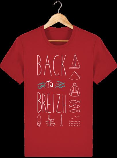 Tee Shirt col rond Back to Breizh - De retour en Bretagne - Red - Face
