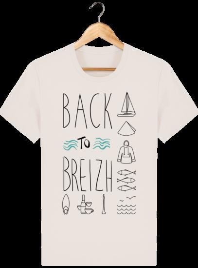 Tee Shirt col rond Back to Breizh - De retour en Bretagne - Off White - Face