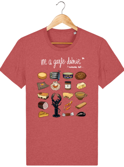 T Shirt Breton Gastronomie Bretonne - Mid Heather Red - Face