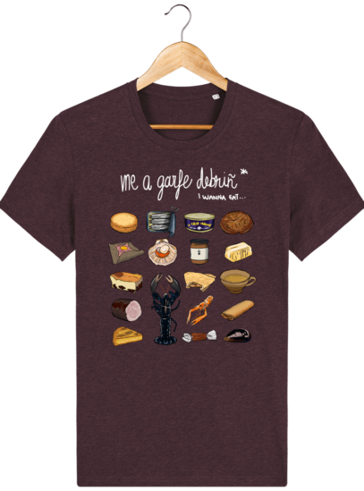 T Shirt Breton Gastronomie Bretonne - Heather Grape Red - Face