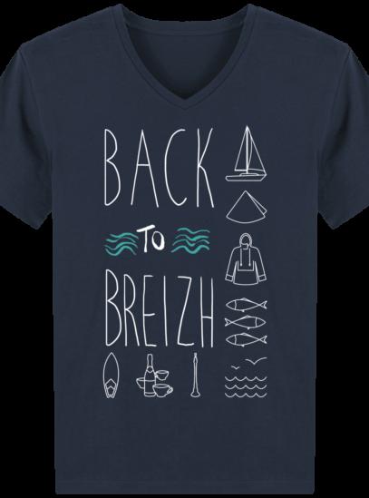 T-Shirt Bretagne – Back to Breizh – De retour en Bretagne - French Navy - Face