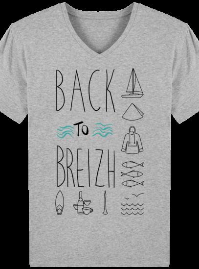 T-Shirt Bretagne – Back to Breizh – De retour en Bretagne - Heather Grey - Face