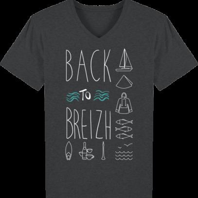 T-Shirt Bretagne – Back to Breizh – De retour en Bretagne - Dark Heather Grey - Face