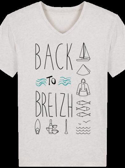 T-Shirt Bretagne – Back to Breizh – De retour en Bretagne - Cream Heather Grey - Face