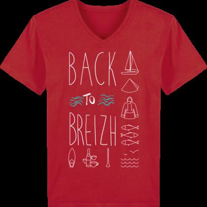 T-Shirt Bretagne – Back to Breizh – De retour en Bretagne - Red - Face