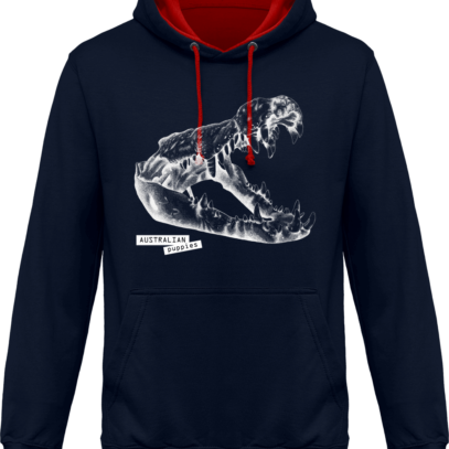Sweat capuche / Hoodies unisexe Crocodile - Australian Puppies - Navy / Fire Red - Face