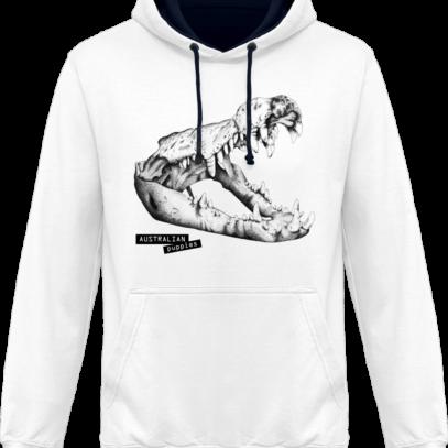 Sweat capuche / Hoodies unisexe Crocodile - Australian Puppies - Arctic White / French Navy - Face