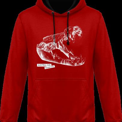 Sweat capuche / Hoodies unisexe Crocodile - Australian Puppies - Fire Red / Jet Black - Face