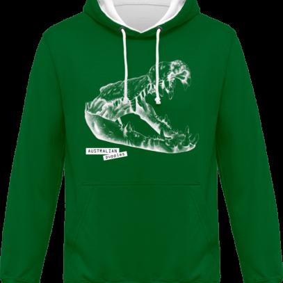 Sweat capuche / Hoodies unisexe Crocodile - Australian Puppies - Kelly Green / Arctic White - Face