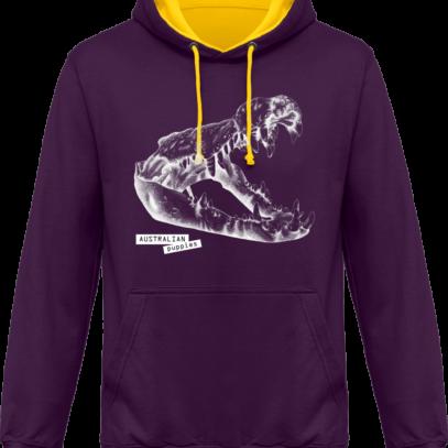 Sweat capuche / Hoodies unisexe Crocodile - Australian Puppies - Purple / Sun Yellow - Face