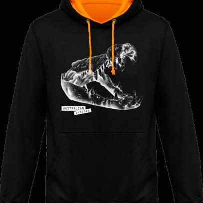 Sweat capuche / Hoodies unisexe Crocodile - Australian Puppies - Jet Black / Gold - Face