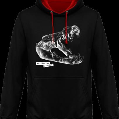 Sweat capuche / Hoodies unisexe Crocodile - Australian Puppies - Jet Black / Fire Red - Face