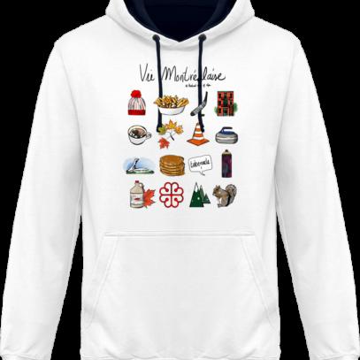 Sweat capuche / Hoodies unisexe Vie Montréalaise - Montréal, way of live - Arctic White / French Navy - Face