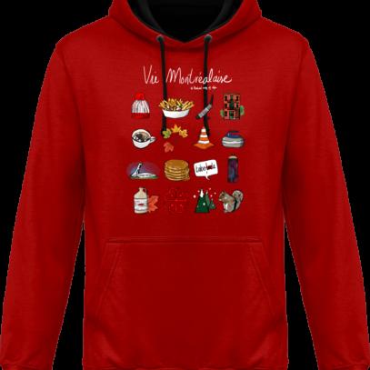 Sweat capuche / Hoodies unisexe Vie Montréalaise - Montréal, way of live - Fire Red / Jet Black - Face