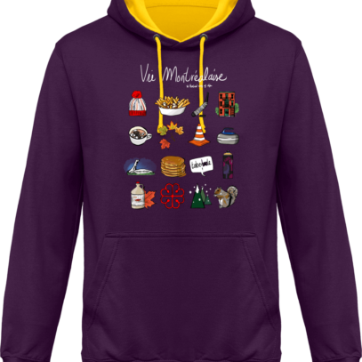 Sweat capuche / Hoodies unisexe Vie Montréalaise - Montréal, way of live - Purple / Sun Yellow - Face