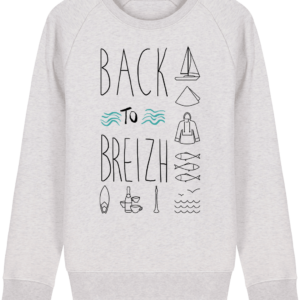 Sweat Shirt Col Rond Back to Breizh - De retour en Bretagne - Cream Heather Grey - Face