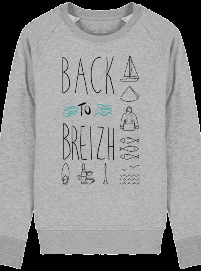 Sweat Shirt Col Rond Back to Breizh - De retour en Bretagne - Heather Grey - Face