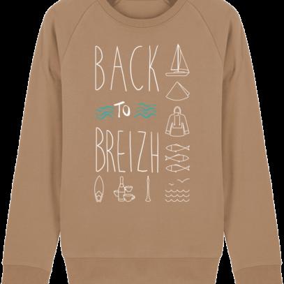 Sweat Shirt Col Rond Back to Breizh - De retour en Bretagne - Camel - Face