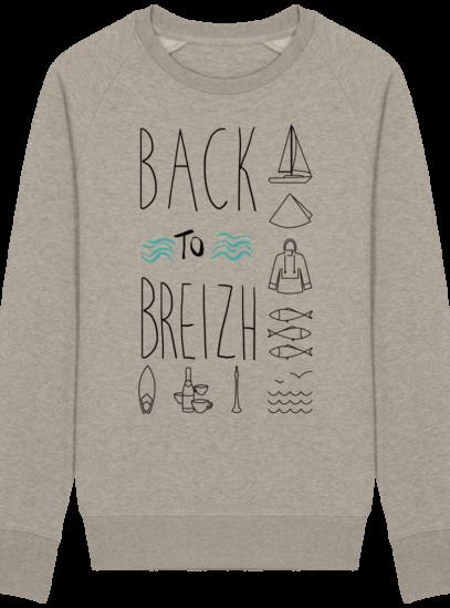 Sweat Shirt Col Rond Back to Breizh - De retour en Bretagne - Heather Sand - Face