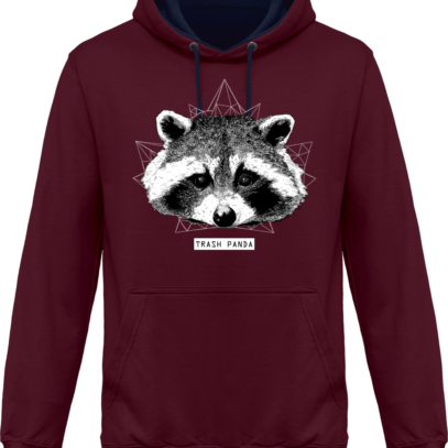 Sweat capuche / Hoodie Raton Laveur/Racoon - Trash Panda - Burgundy / Oxford Navy - Face