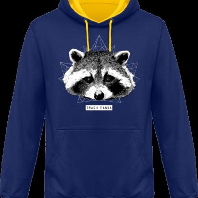 Sweat capuche / Hoodie Raton Laveur/Racoon - Trash Panda - Royal / Sun Yellow - Face